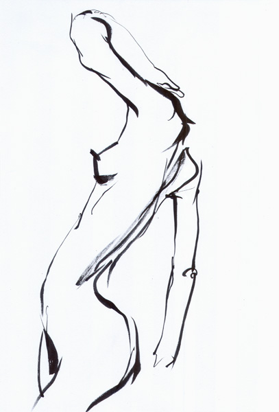Kika, Standing In Profile, Arching Her Back, Her Left Elbow Raise