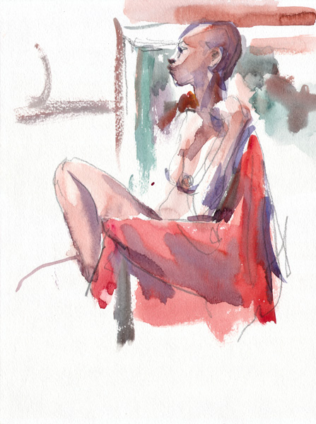 Female Nude, In Profile, Her Leg Bent At The Knee, Seated On a Chair Draped In a Red Cloth