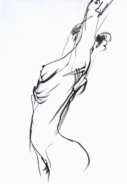 Female Nude, Standing In Profile, Reaching Her Arms Above Her Head
