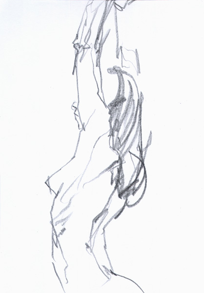 Female Nude (Julie), Standing In Profile, Reaching Her Arms Above Her Head