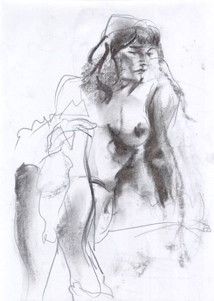 Seated Female Nude, With Legs Crossed, Leaning On Her Left Arm, Looking Sideways
