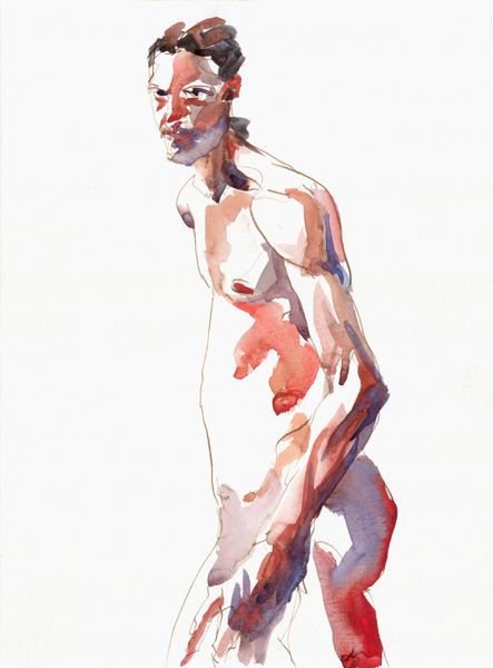 Male Nude In Mid-Stride, Standing In Semi-Profile, Looking Forward