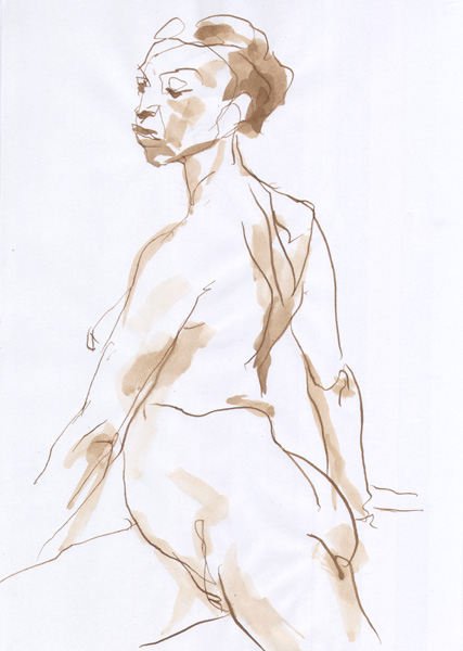 Seated Female Nude, In Profile, Twisting Her Back Opposite Her Hips