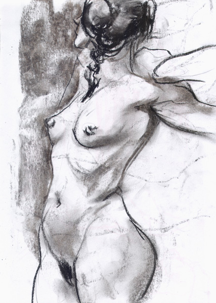 Female Nude With Pigtails, Standing In Profile, Looking Away, Her Left Arm Reaching Back