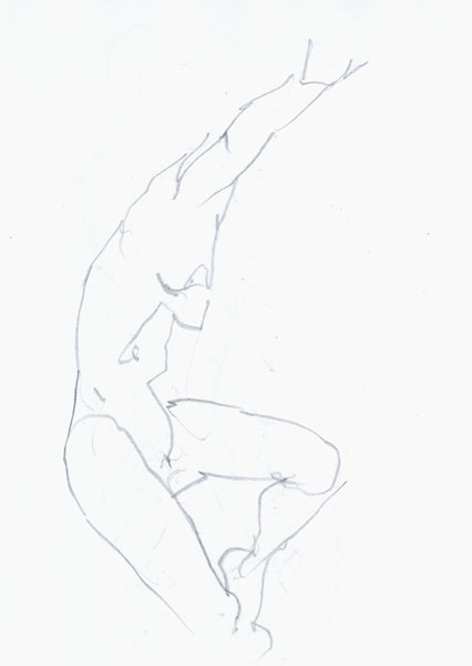 Jumping Female Nude, In Profile, With Right Arm And Left Knee Raised
