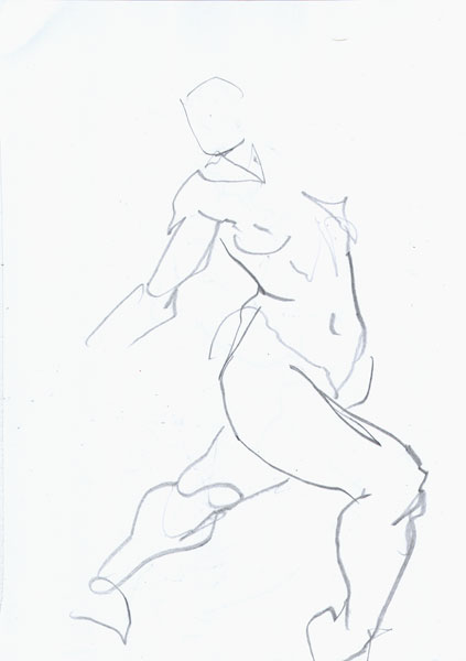 Standing Female Nude, Lunging Forward With Right Leg Bent At The Knee, Arms Pulled Backwards
