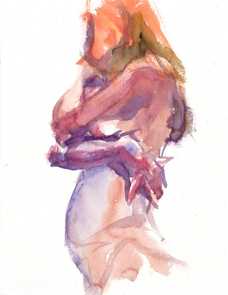 Female Nude, Standing In Profile, Embracing Herself