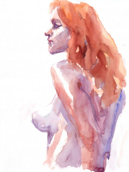 Red-Headed Female Nude, In Profile And Reverse, With Left Arm Reaching Backward