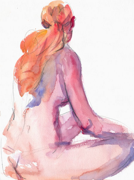 Seated Redheaded Female Nude, In Profile And Reverse, Her Right Arm Resting On Her Leg