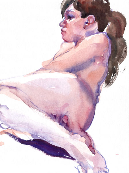Reclining Female Nude, In Profile, Leaning Back On Her Right Arm, Her Hair In A Ponytail