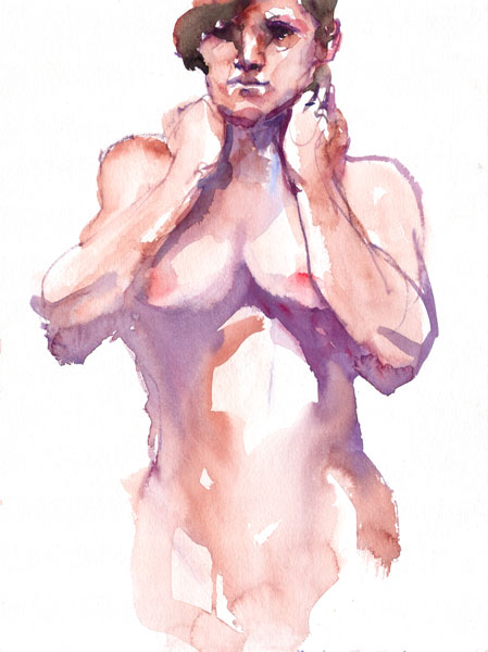 Standing Female Nude, Her Hands Resting On Her Shoulders Behind Her Back