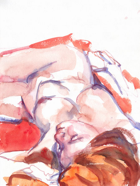 Reclining Female Nude, With Red Hair, Her Hips Twisting Leftward