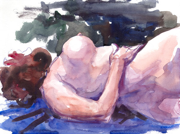 Amber Ray, Reclining In Profile And Reverse, Her Right Hand Resting On Her Twisting Hips