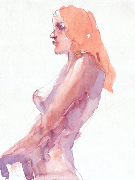 Female Nude, Standing In Profile, Her Left Arm In Front Of Her