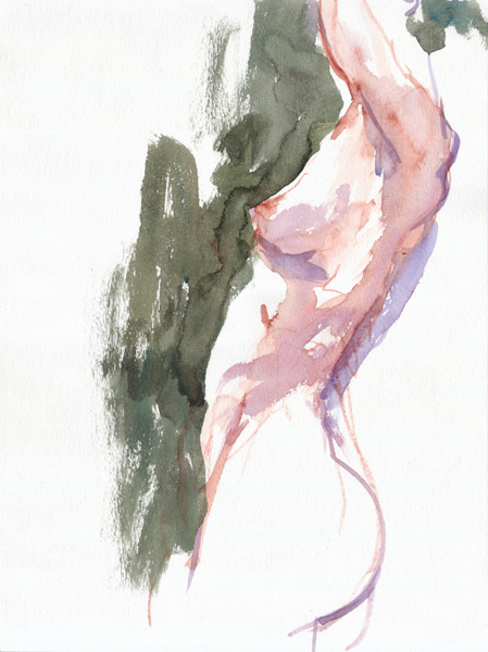 Female Nude, Standing In Profile, Her Arms Raised Above Her Head