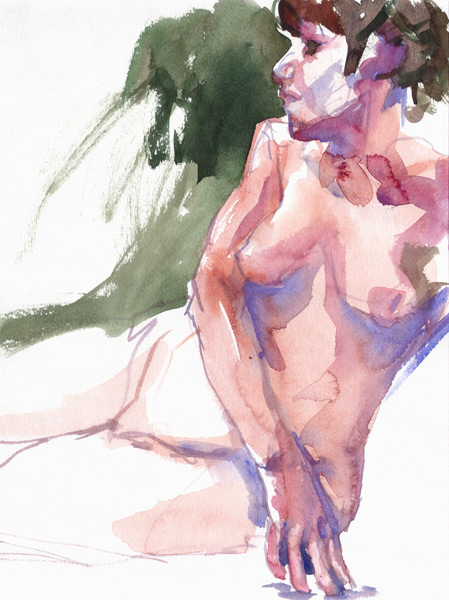 Female Nude, Seated In Semi-Profile, Leaning On Her Left Arm While Balancing Herself With The Fingers Of Her Right Hand