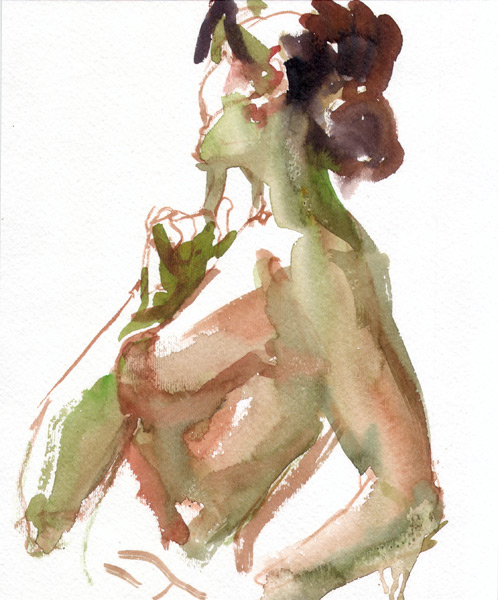Female Nude, Standing In Profile, Her Right Arm Raised Toward Her Face (Trying To Remember Something)