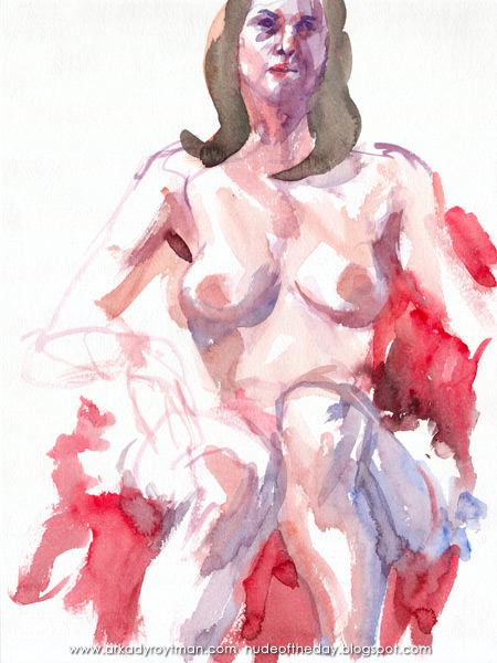 Female Nude, Seated On Red Cloth