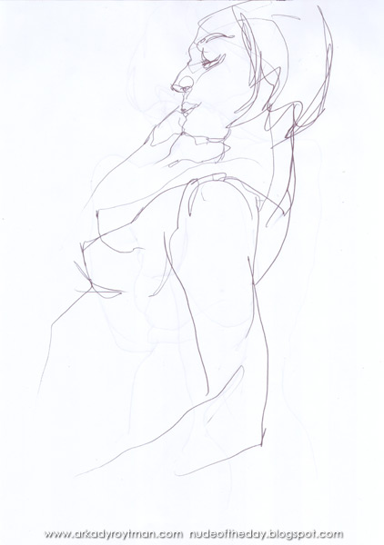 Female Nude, Standing In Profile, Leaning Back, Her Right Hand On Her Cheek