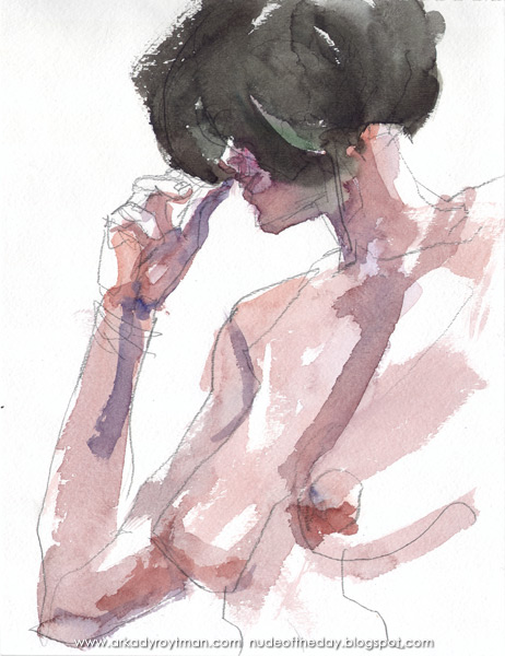 Female Nude, In Semi-Profile, Her Right Hand Holding Her Hair