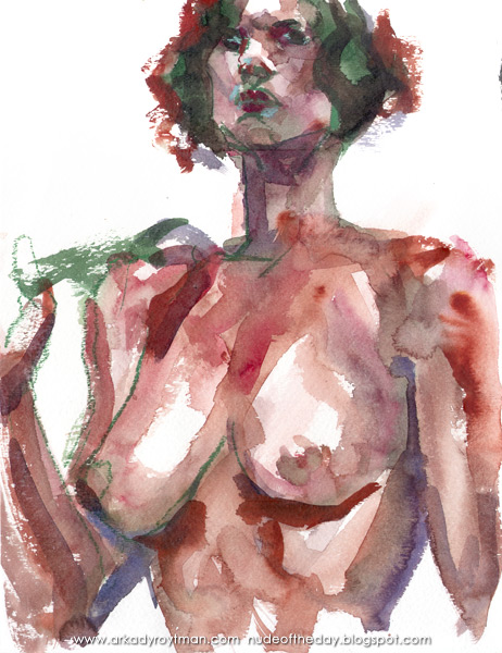 Female Nude, Standing In Semi-Profile, Her Right Arm Raised