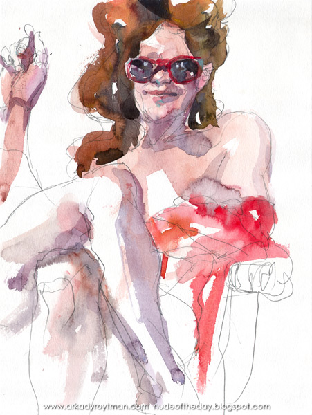 Lillian, Seated Cross-Legged, Wearing Red Sunglasses