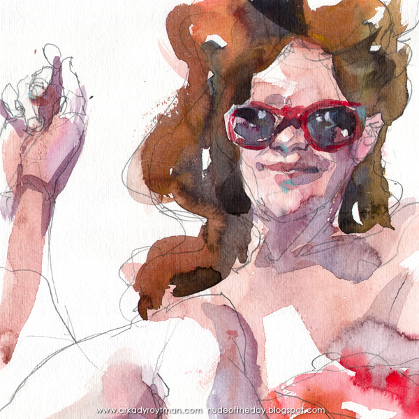 Lillian, Seated Cross-Legged, Wearing Red Sunglasses (Detail)