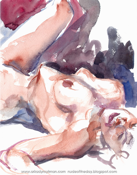 Reclining Female Nude, With Her Left Leg Raised