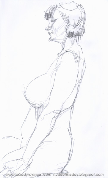 Female Nude, Seated In Profile, Her Arms At Her Sides