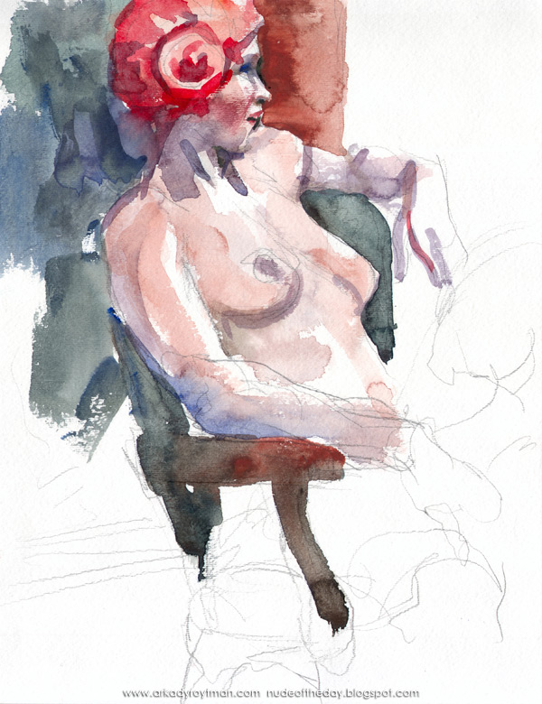 Female Nude, In Profile, Seated In A Chair, Wearing A Red Wig