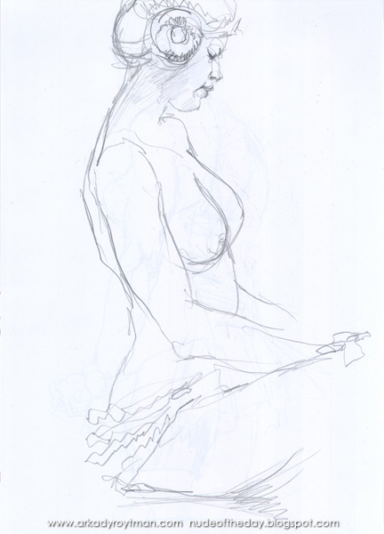 Female Nude, Seated In Profile, Doing Her Taxes