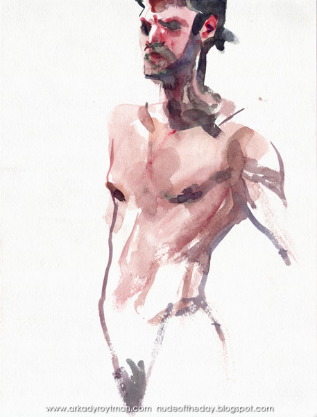 Male Nude (Omar), Standing In Semi-Profile