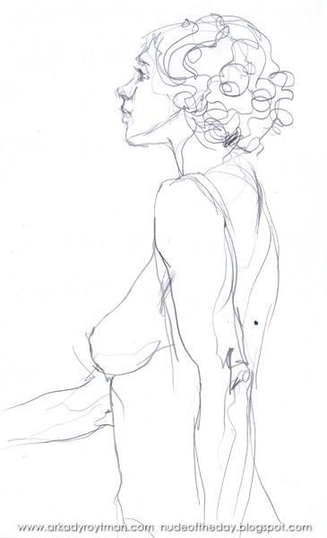 Female Nude With Curly Hair, Standing In Profile And Reverse