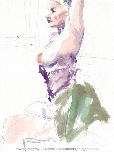 Louisa, Seated In Profile, Wearing A Violet Corset And A Green Skirt, Her Left Arm Raised Above Her Head