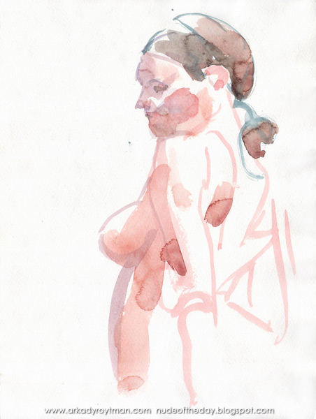 Female Nude, Standing In Reverse, Looking Left