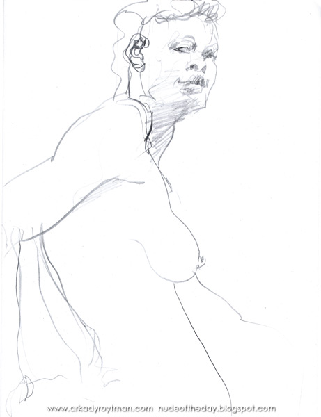 Female Nude With A Mohawk, Standing In Profile, Her Right Hand On Her Hip