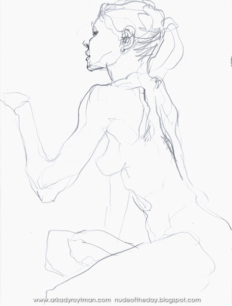 Female Nude, Seated In Profile And Reverse, Reaching Out With Her Left Arm