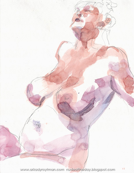 Female Nude, Seated In Semi-Profile, Leaning Back On Her Arms, Looking Up