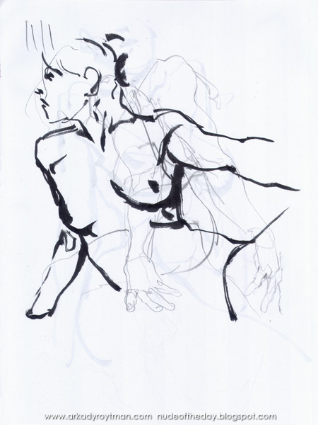 Female Nude, Seated In Profile, Reaching Out With Her Left Arm (Over Pencil Studies Of Arms And Hands)