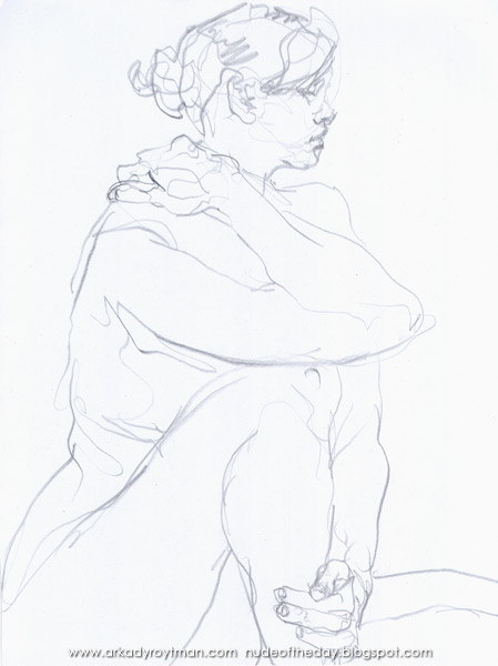 Female Nude, Seated In Profile, Rubbing Her Shoulder With Her Right Hand