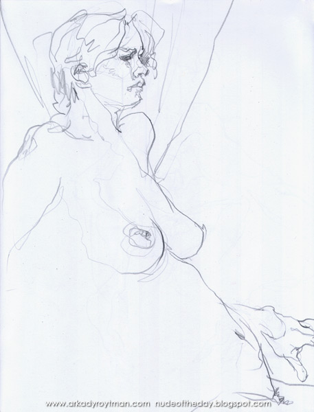 Female Nude, Seated In Profile, Leaning Backwards