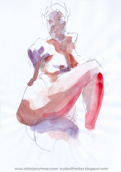 Female Nude, Seated In Semi-Profile, Leaning Back, Her Right Leg Crossing Her Left