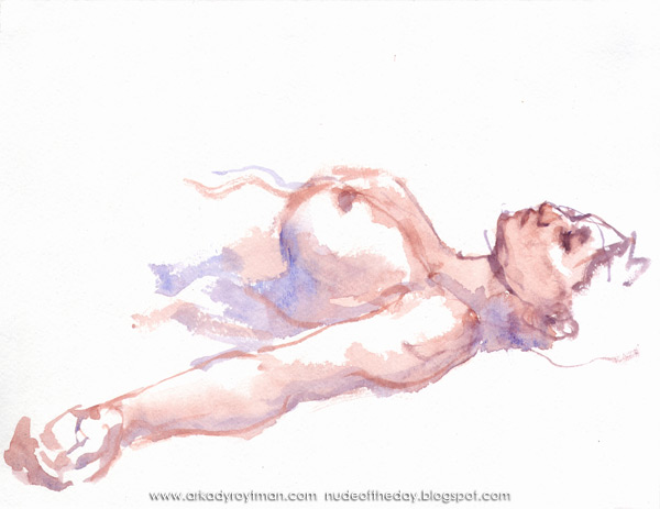 Reclining Female Nude, Her Left Arm Outstretched