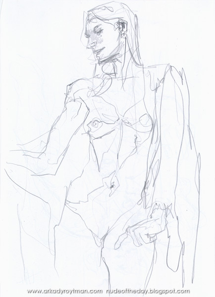 Standing Female Nude, A Cloth Draped Around Her Left Shoulder
