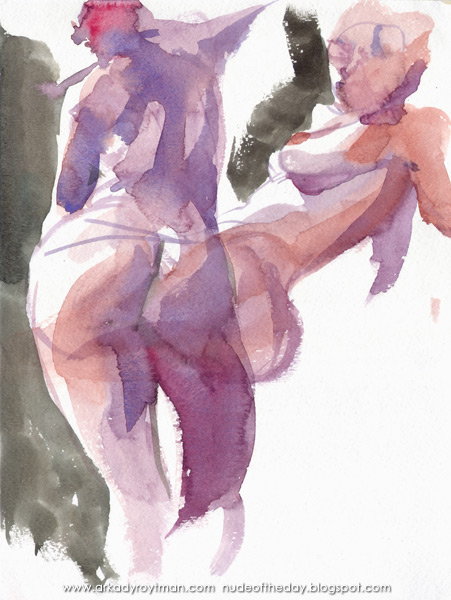 Study Of Two Female Nudes, One Standing In Reverse, The Other Seated In Profile