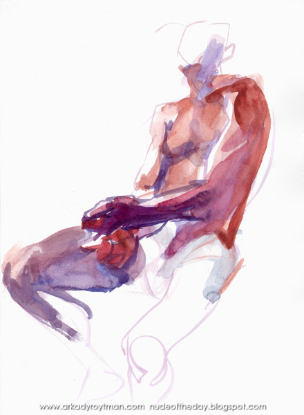 Male Nude, Seated In Semi-Profile, His Crossed Hands Resting In His Lap