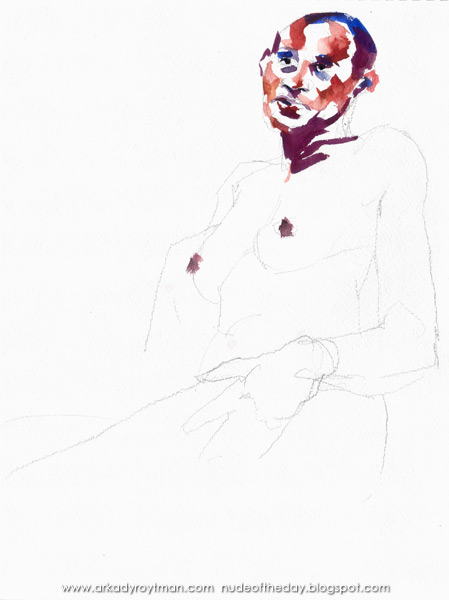 Female Nude, Seated In Semi-Profile, Her Left Hand Resting On Her Hip