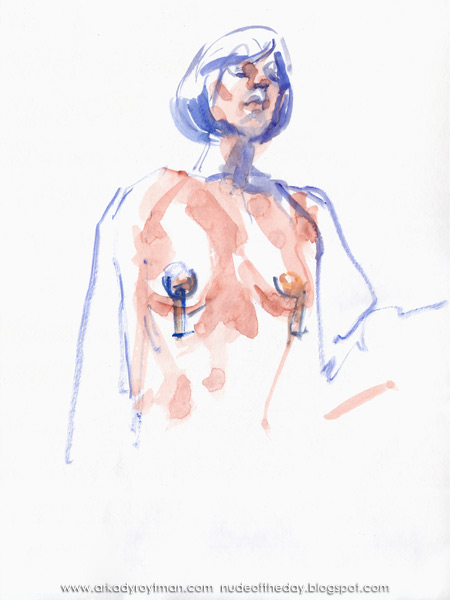 Gigi, Standing Draped In A Cloth, Wearing A Blue Wig And Tasseled Pasties