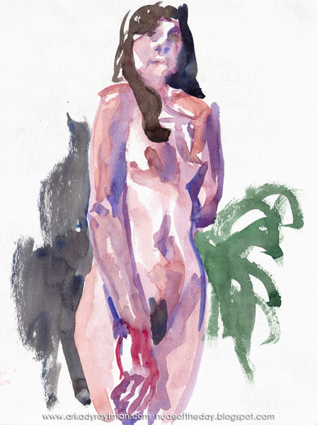 Female Nude, Standing In Semi-Profile, Her Left Arm Raised Toward Her Face