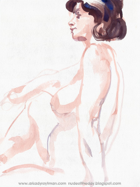 Female Nude, Seated In Profile, Her Right Arm Resting On Her Raised Knee